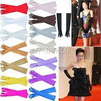 Elegante Damen Handschuhe Satinhandschuhe Brauthandschuhe Ultralang Farbewahl