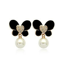 ITALINA 18K GOLD PLATED AUSTRIAN CRYSTAL BLACK ENAMEL & PEARL BUTTERFLY EARRINGS