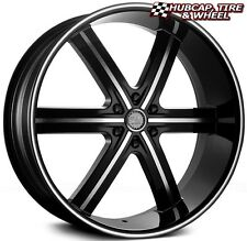 "U2 55B BLACK & MACHINED w/ MILLED LIP 22""x9.5 CUSTOM WHEEL RIM (ONE WHEEL) NEW"