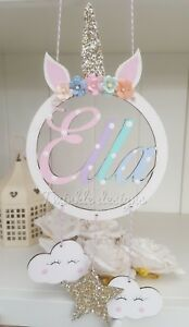 Personalised name wooden unicorn hanging dreamcatcher cloud star girls gift