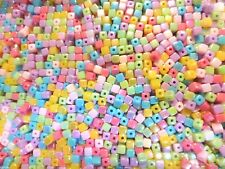 200 Cube Beads Mixed Colours - Acrylic Colourful Candy Squares AB 4mm x 4mm