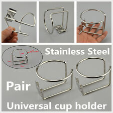 2x Silver Stainless Steel Car Truck Yacht Boat Ring Cup Drink Holder Waterproof