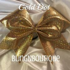 CHEER BOW - All Gold Dot Cheer Bow W/Rhinestone Center - Gold Dot