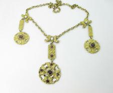 Biedermeier Collier Gold Double Halskette Granat Perlen Kette 1840 Vintage neck
