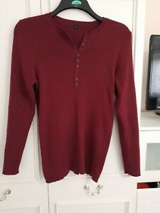 Ladies Size 16-18 Henley Style Ribbed Long Sleeve Jumper.