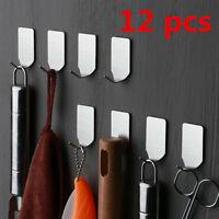 12Pcs Hanger Hooks Self Adhesive Bathroom Wall Door Stainless Steel Holder Hook