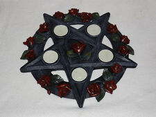 ROSE AND PENTAGRAM GOTHIC PAGAN WICCAN T-LITE HOLDER, WITH T-LITES, BN! (NEM5185