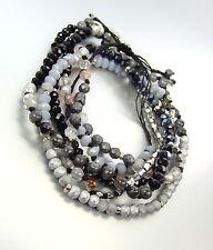 Urban Artisanal Hematite Black Onyx Silver Crystals Wrap Bracelet Necklace
