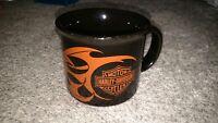 Harley Davidson Motorcycles Black & Orange Flame Ceramic Mug 2004.