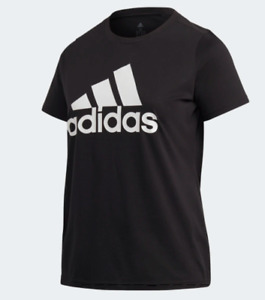 Adidas T Shirt Womens Plus 2X Authentic Badge of Sport Logo Short Sleeve Black