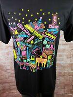 Vtg 90s Single Stitch Neon T-Shirt LARGE Las Vegasw Flamingo Hilton USA Made