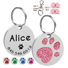 Paw Print Personalized Dog ID Tags Round Custom Pet Name Number Engraved Free
