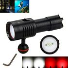 6000Lm 4x Blanco+2x Rojo LED Fotografía Video Linterna Luz De Buceo 100 M 26650