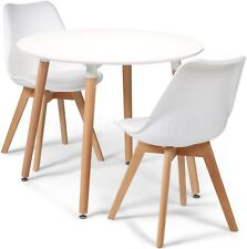 Toulouse Tulip Eiffel Style Dining Set 90cms Round White Table & 2 White Chairs