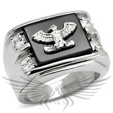 Men's American Eagle Ring Stainless Steel Agate Crystals Accented TK02221