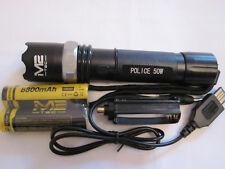 Swat LED Cree Polizei Taschenlampe 2x 8800mAh Akku + USB Ladekabel Zoom Neu