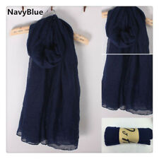 Navy Blue Lady women long soft cotton Scarf Wrap Shawl scarves stole thicken