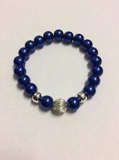 Dark blue imitation pearl 10mm silver corrugated charm beaded stretch bracelet
