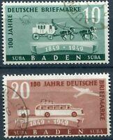 BADEN FRENCH OCCUPATION Mi. #54-55 used stamp set! CV $33.50