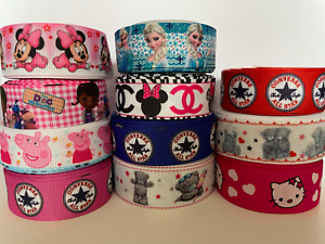 GROSGRAIN RIBBON CHARACTER PRINTED CARDS CRAFT BOWS DRESS GIFT WRAP 1 MTR/22 MM