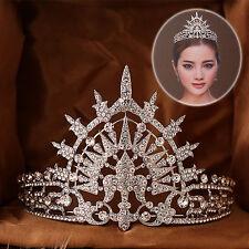 Vintage Wedding Bridal Crystal Queen Silver Headband Pageant Crown Tiara Jewelry