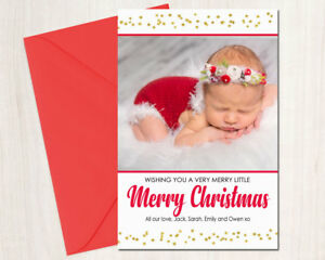 Personalised Christmas Photo Cards Digital or Printed Gold Glitter Stars