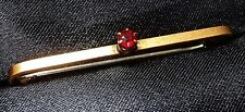 Vintage Bar Brooch/Pin 9ct Rose Gold Bar with Red Garnet/Ruby Stone Exc Cond 76