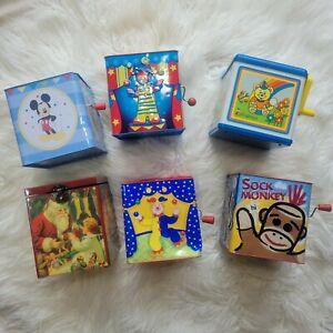 Jack in the Box Musical Boxes Lot of 6 Vintage Schylling, Disney, Enesco Meritus