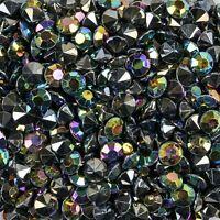 130 Stück Dekosteine klar 10mm Spiegeldiamanten Dekodiamanten schwarz irisierend