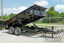 New 7 X 14 14k Gvwr Hydraulic Power Up Amp Down Dump Trailer Hauler 1 Piece Floor