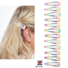Kids Girls 12pk Pastel Rainbow Hair Clips Hair Snaps Grips Pride Accessory UK