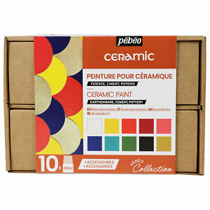 Pebeo Ceramic Painting Collection Set 10 x 45ml Colours & Accessories