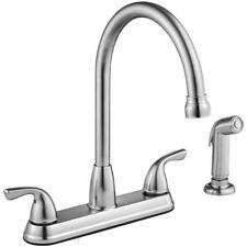 Project Source Stainless Steel Deck Mount High-Arc Kitchen Faucet w/ Spray