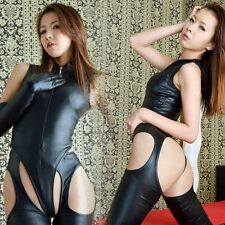 Sexy Women Lingerie Faux Leather Bodysuit Leotard Thong Pantyhose Gloves Outfit