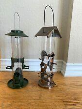 Qty 2 Green & Copper Tube Wild Bird Feeders Feeder Squirrel Proof Hanging