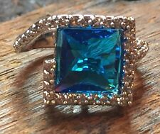 London Blue Topaz And CZ Silver Toned Cocktail Ring 7.5