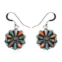 Santa Fe Style 925 Silver Turquoise Dangle Earrings Southwest Jewelry Ct 1.2
