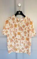 Vintage 90's Retro Leaves Print Designer Semi Sheer Summer Loose Blouse Top 10