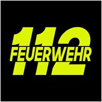 112 Feuewehr Aufkleber Neon Gelb Folie Sticker Auto Notruf Hilfe Zubehör K087