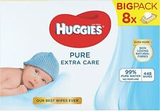Huggies Pure Extra Care Sensitive Baby Wipe 56 X 8 Packets - Pack Total 448 Pcs
