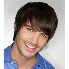 100% Real Hair! Virile Short Brown Black Toupee Straight Wig For Men Human Hair