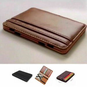 RFID Blocking Magic Flip Leather Wallet Slim Credit Card Holder Mens Money Clip