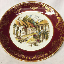 """WEATHERBY JH HANLEY WEA17 BREAD PLATE 6 1/2"""" RED BAND GOLD VILLAGE SCENE HOUSES"""