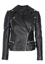 MUUBAA LOWNDES QUILTED LEATHER SKINNY BIKER MOTO JACKET BLACK US 4 XS UK 8 EU 36