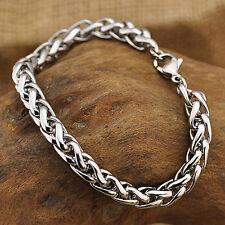 Men's Stainless Steel Bracelet Bangle Wristband Chain Link Cuff Biker Silver
