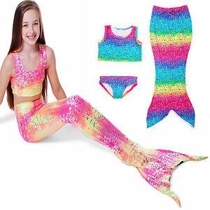 Kids Girls Mermaid Tail Swimsuits Swimwear Bikini Bathing Beachwear Costumes