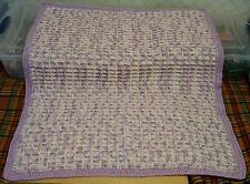 Af0013 Handmade Baby Afghan violet pink white Waffle 29x35 Crochet + storage bag
