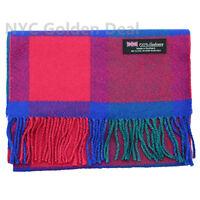 Men Women unisex 100% CASHMERE Thick Plaid Design Scarf pure Wool Blue Pink