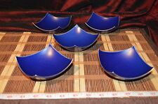 "5 Asian Ceramic Blue w/ Gold Edge & Lifted Sides Small Plates 4""x4"" Marked"