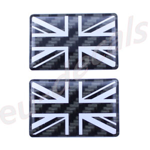 2X Carbon fiber and White Union Jack flag 3D Decal domed 35X22mm